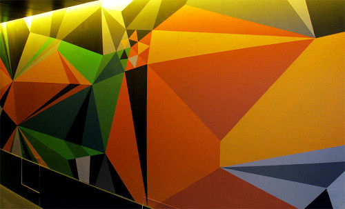 Neon Geometric Wall Art : painted wall design
