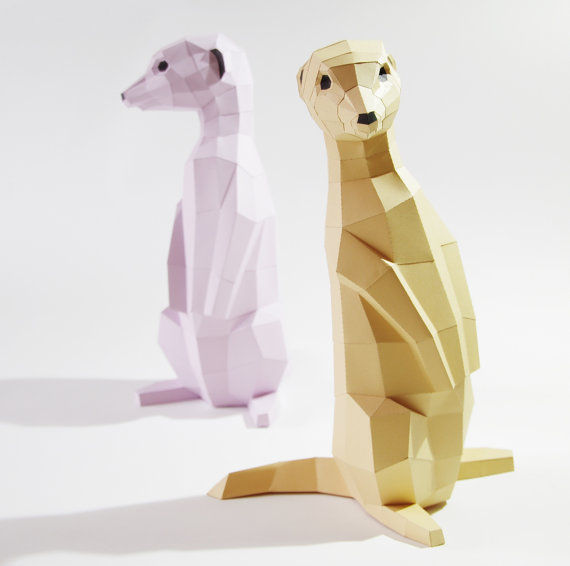 Geometric Meerkat Sculptures