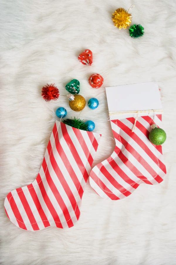 Festive Paper Bag Stockings