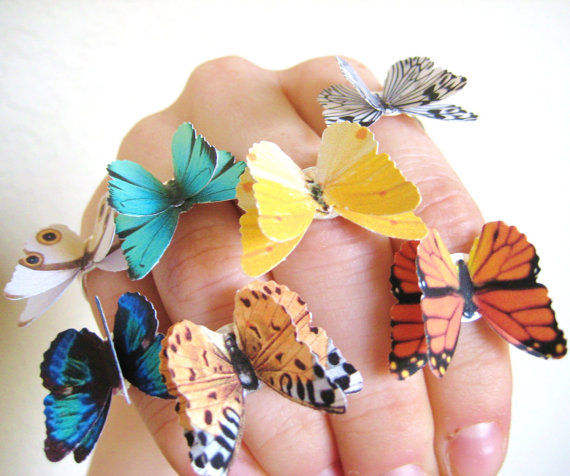 3D Origami Accessories Paper Butterfly Ring