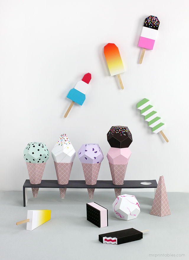 Paper Ice Cream Playsets