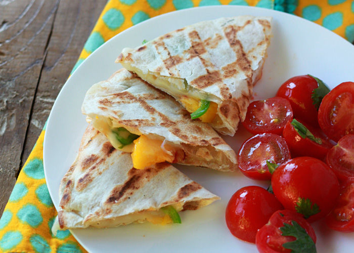 Cheesy Peach Quesadillas