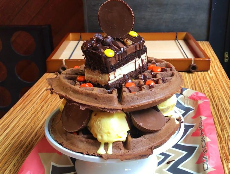 Peanut Butter Waffle Towers
