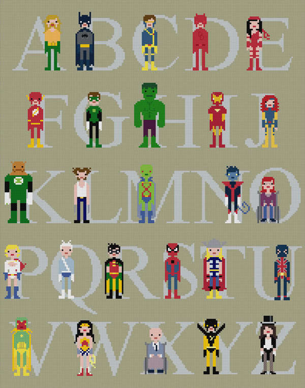 Alphabetic Superhero Charts