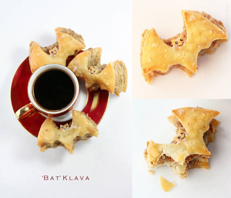 Baked Bat-Shaped Baklavas