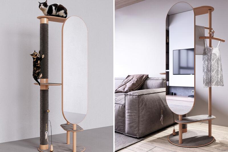 Full-Length Mirror Cat Towers