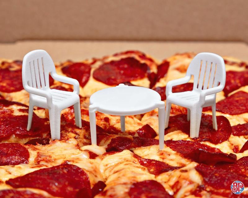 Humorous Miniature Patio Sets Pizza Saver