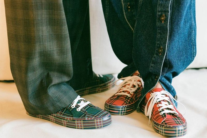 Collaborative Plaid Skate Shoes