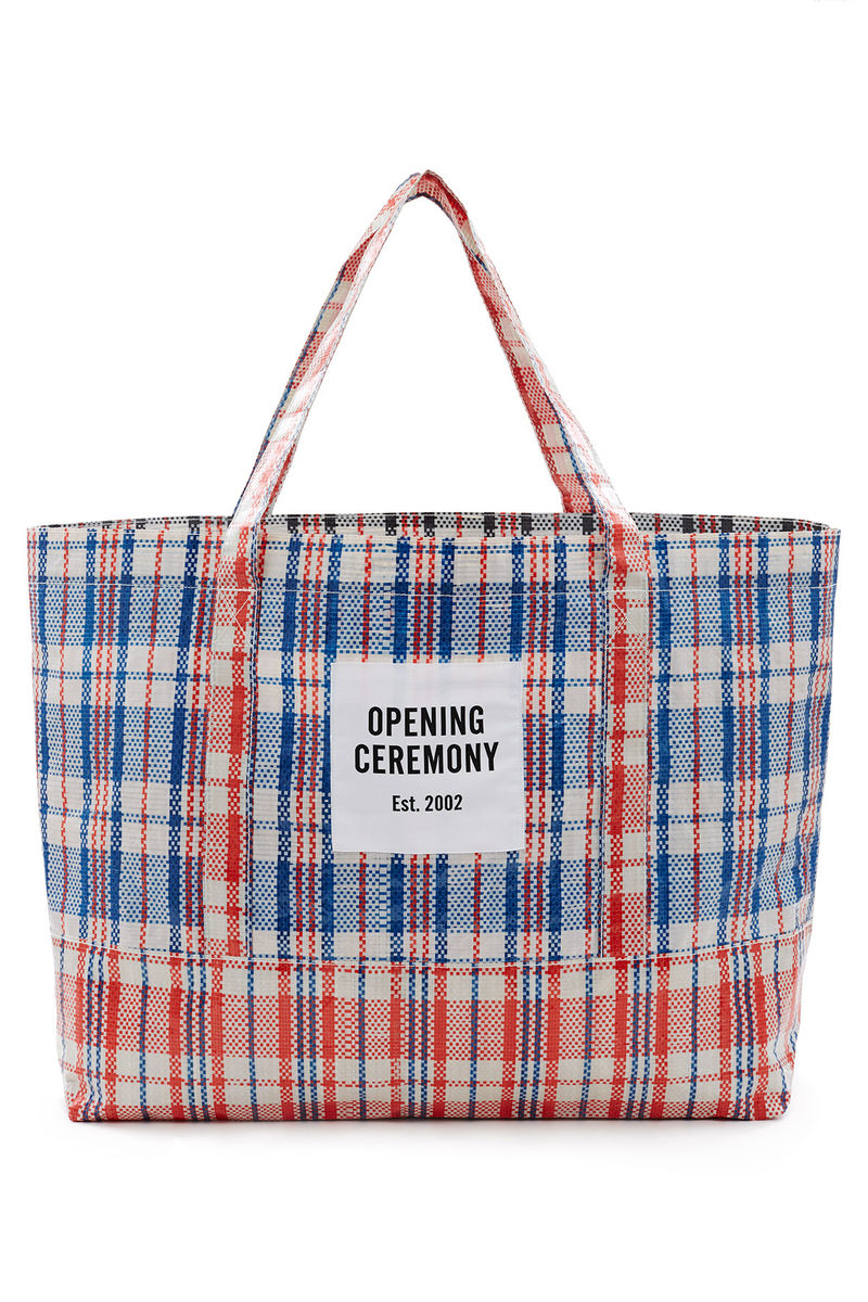 Designer Supermarket Totes Plaid Tote Bag