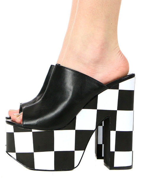 Sky-High Racing Stripe Mules