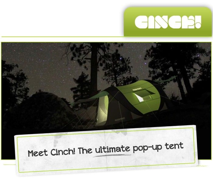Cinch! Ultimate pop up tent with solar