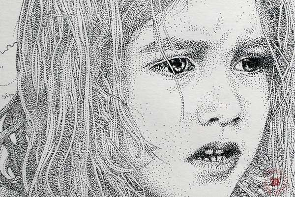 Skillfully Stippled Sketches : Portrait Drawing