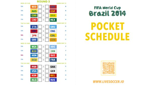 photograph about World Cup Printable Schedule known as Pocket-Equipped Soccer Charts : printable world-wide cup agenda