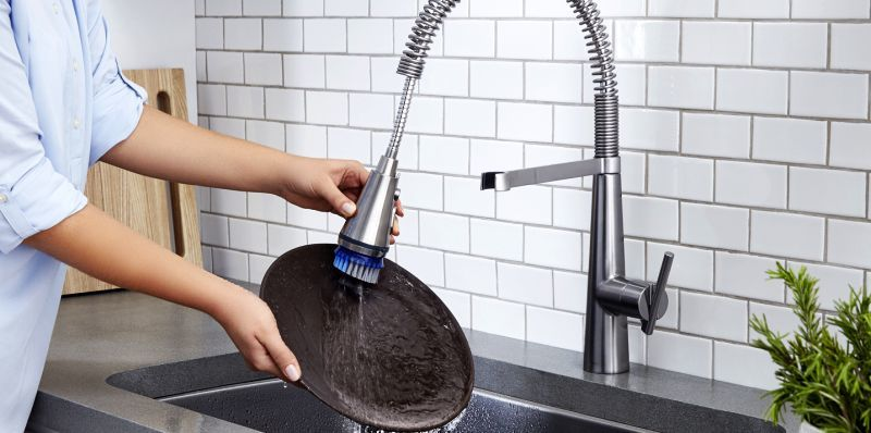 Dish-Scrubbing Faucets : professional kitchen faucets - hauntedcathouse.org