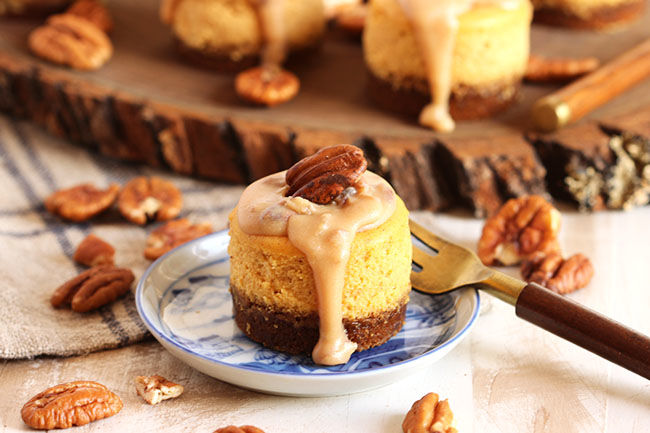 Bourbon Pumpkin Cheesecakes