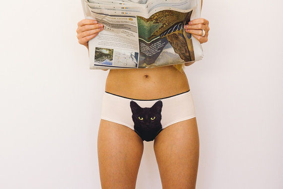 Feline-Adorned Panties