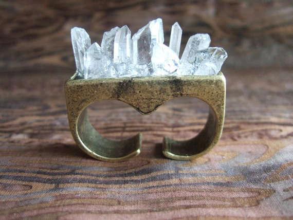 Spiked Crystalline Brass Jewelry