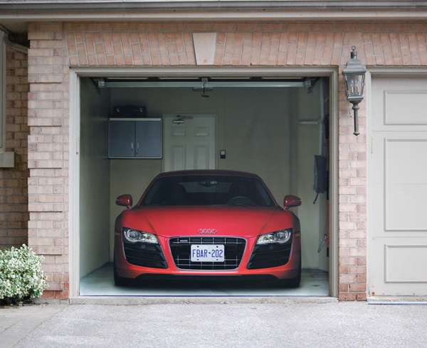 supercar garage decals r8 garage door cover. Black Bedroom Furniture Sets. Home Design Ideas