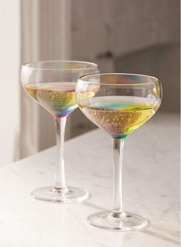 Rainbow Coupe Glasses