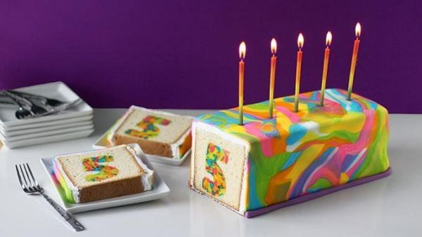 Multi-Colored Birthday Cakes : Rainbow Tie-Dye Surprise Cake