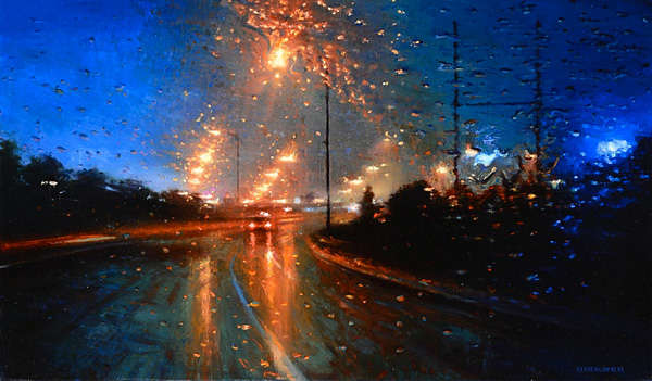 Stormy Windshield Sceneries Rainy Day Painting