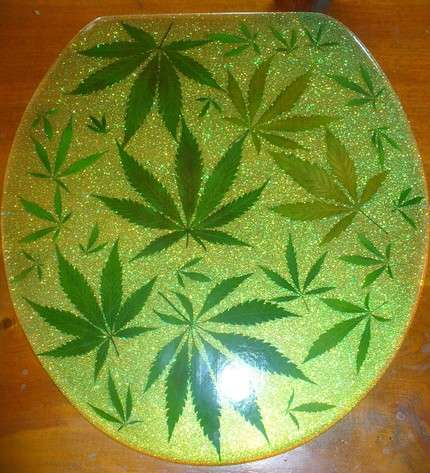Cannabis Toilet Covers Real Leaf Toilet Seat
