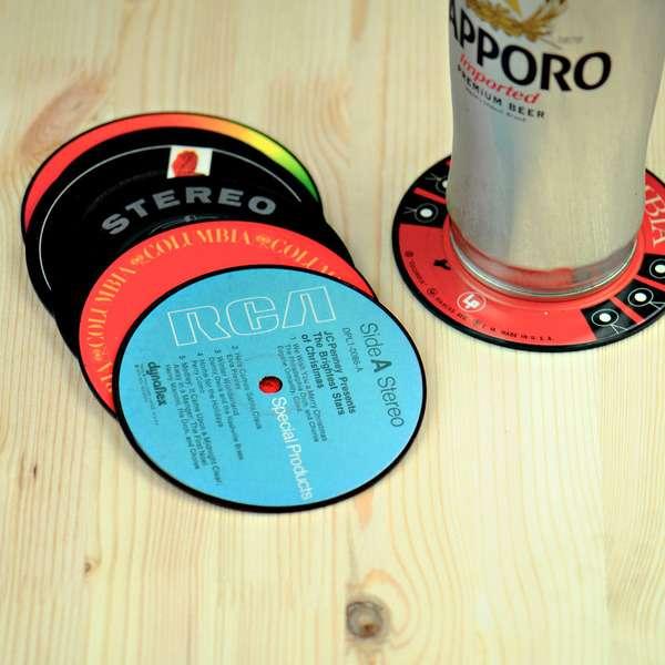 Vintage Vinyl Mug Mats