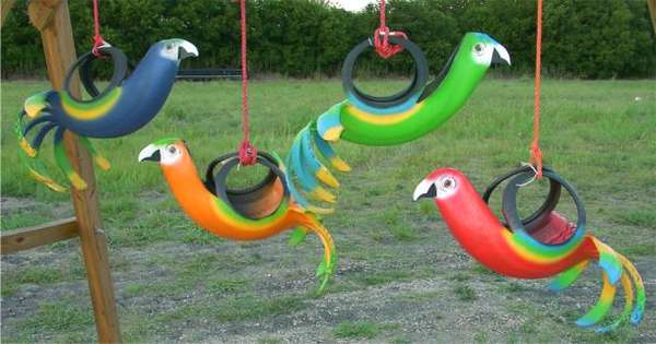 Tropical Tire Swings Recycled Creations Designs Include Bird