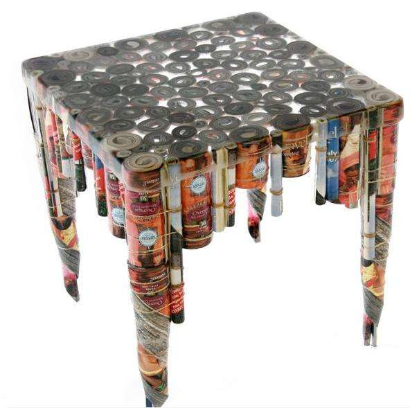 Recycled junk mail tables revision furniture for Designers that use recycled materials