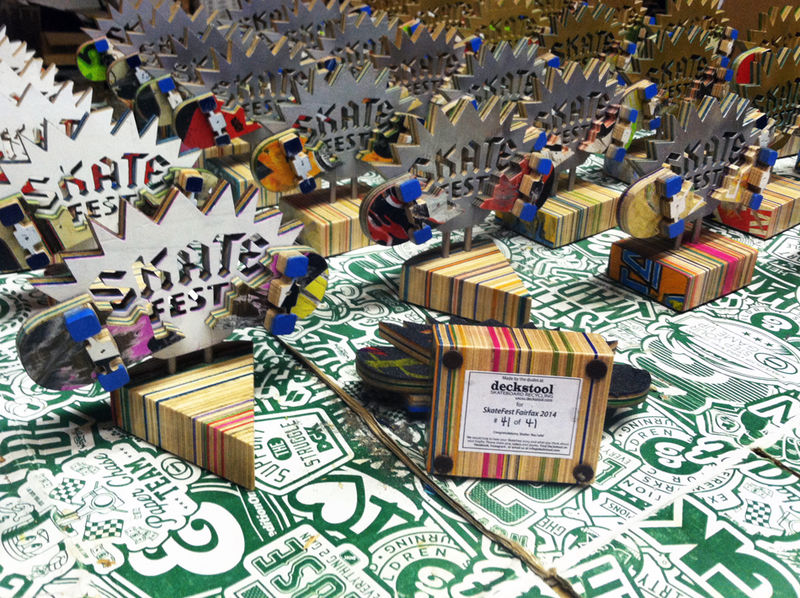 Recycled Skateboard Trophies