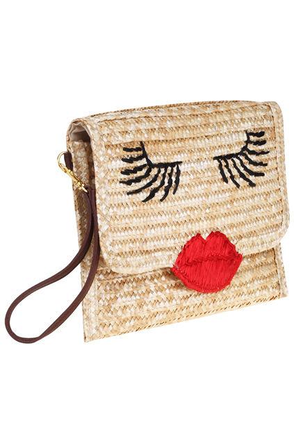 Feminine Face Purses Red Lips Straw Bag