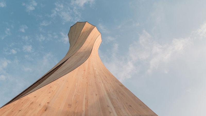Self-Shaping Wooden Towers