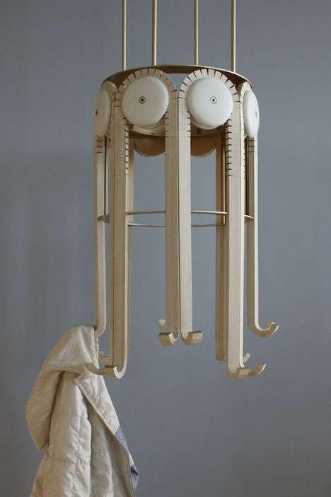 wooden gear  hangers respond mechanical coat rack