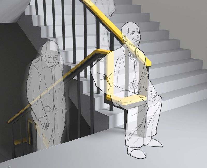Seat-Integrated Stairwell Handrails