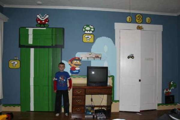 Gamer bedroom art retro room mural for Cool gamer bedroom ideas