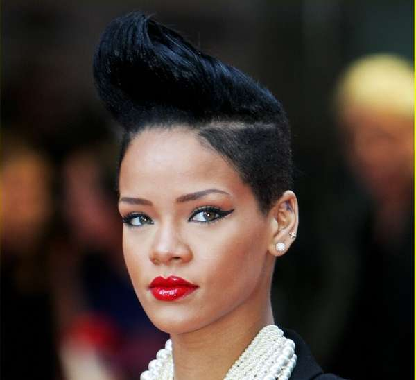 photos of short haircuts for black women pompadour mohawks rihanna shows how to rock the 3532 | rihanna pompadour mohawk