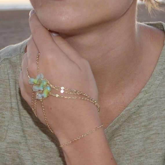 Ring Bracelet Chain: Elegant Hand Chain Jewelry : Ring Bracelet