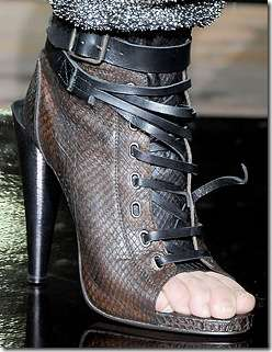 Strap-Happy Snakeskin Stilettos