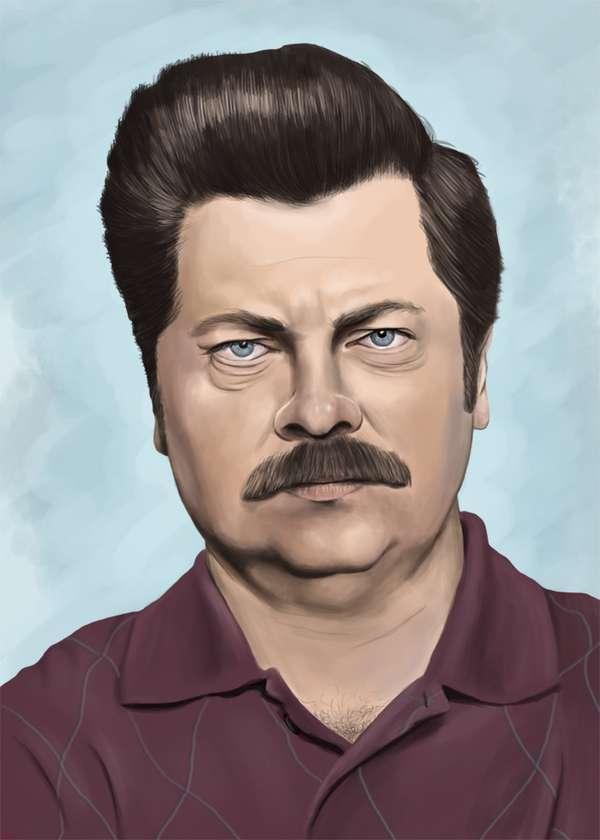 Tv Character Art Tributes Ron Swanson Portraits