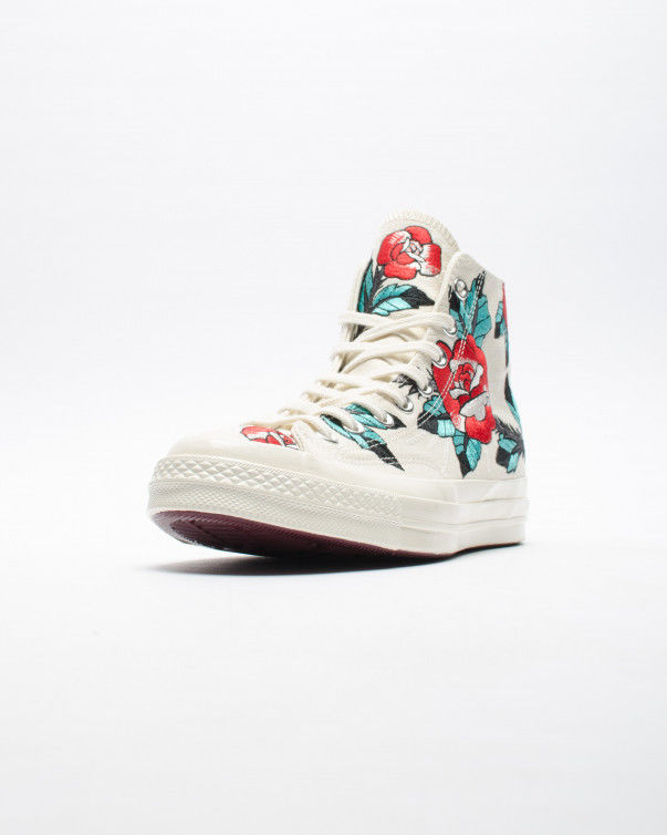 Rose-Embroidered High Tops