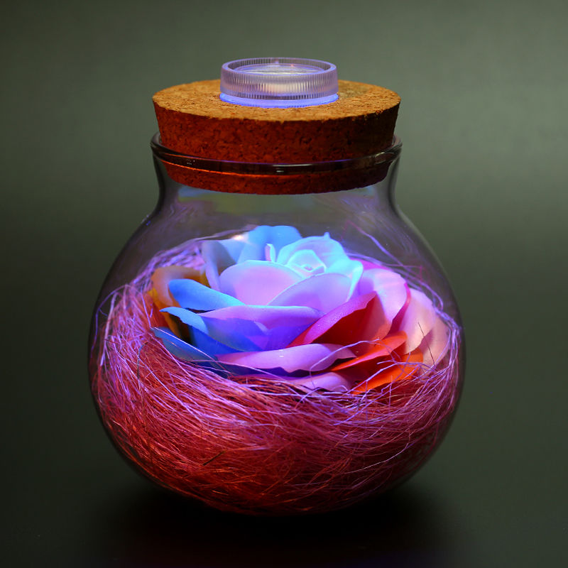 Illuminated Rose-Filled Containers