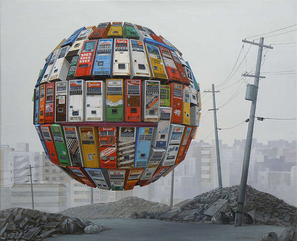 Surreal Floating Orb Paintings