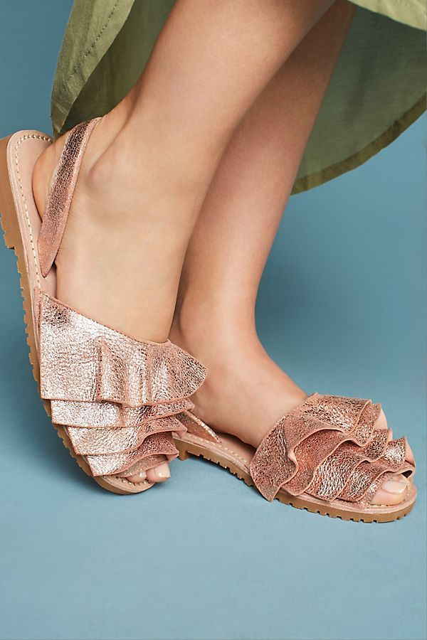 Frilled Metallic Summer Sandals