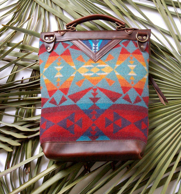 Geometrically Rustic Leather Bags