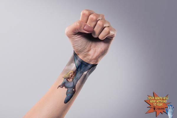 Dynamic Hand Tattoo Ads Safety Gloves
