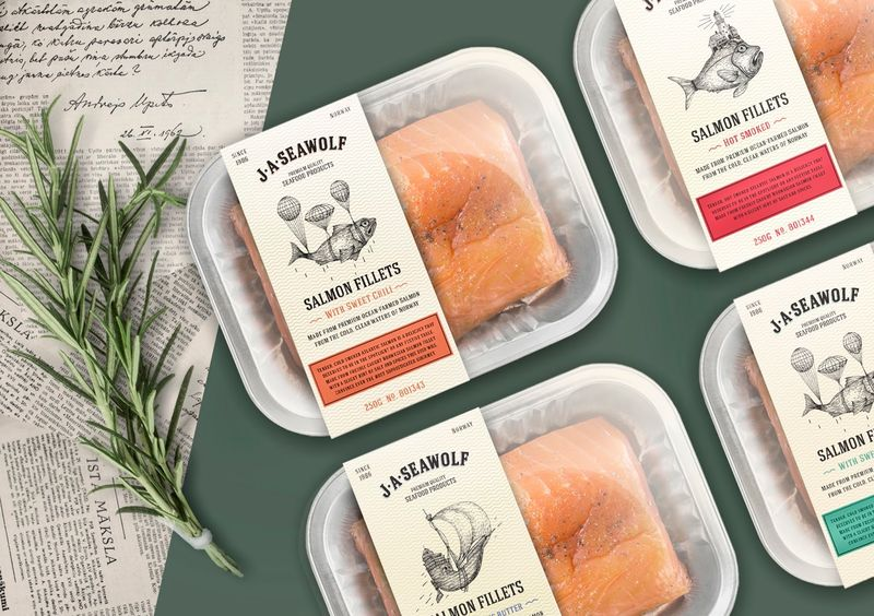 Whimsical Salmon Packaging