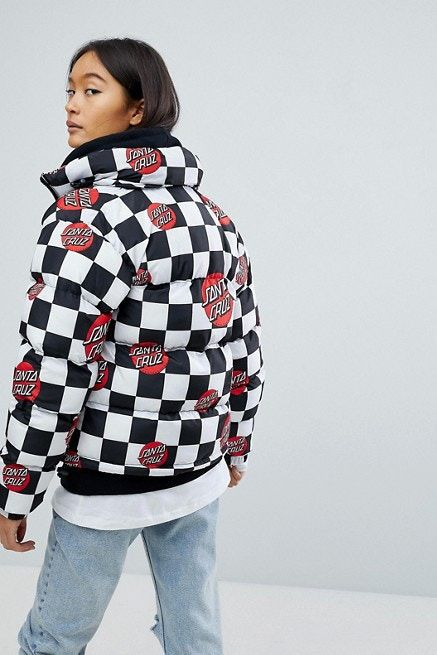 Checkerboard Puffer Jackets