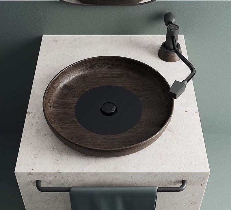 Record Player-Inspired Sinks