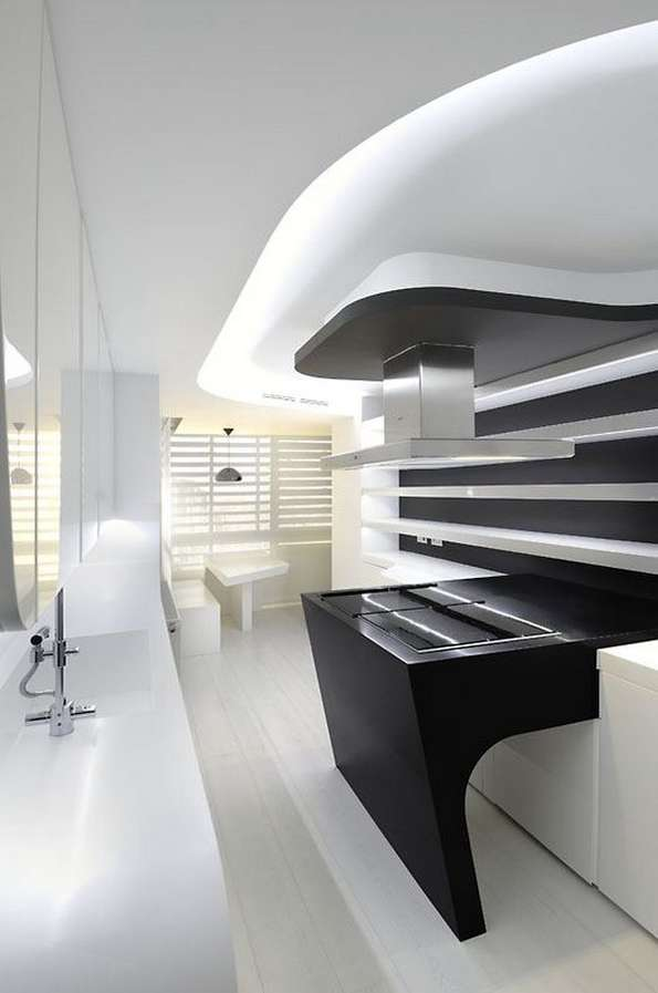 Futuristic Colorless Interiors Sci Fi Apartment