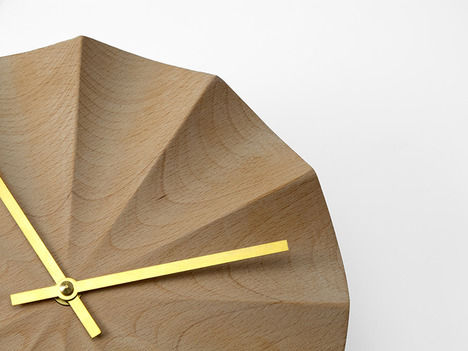Geometric Beechwood Clocks